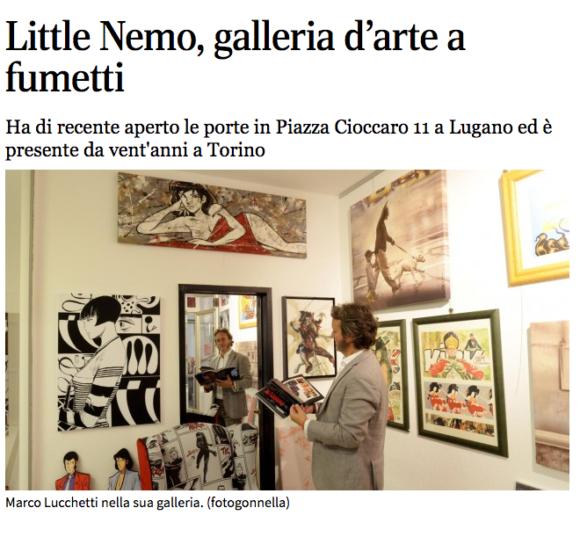 Corriere del Ticino, Little Nemo, galleria d'arte a fumetti – 16 Luglio 2015