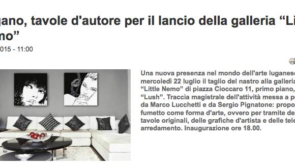 Giornale del Ticino, Lugano, tavole d'autore per il lancio della galleria Little Nemo – 10 luglio 2015