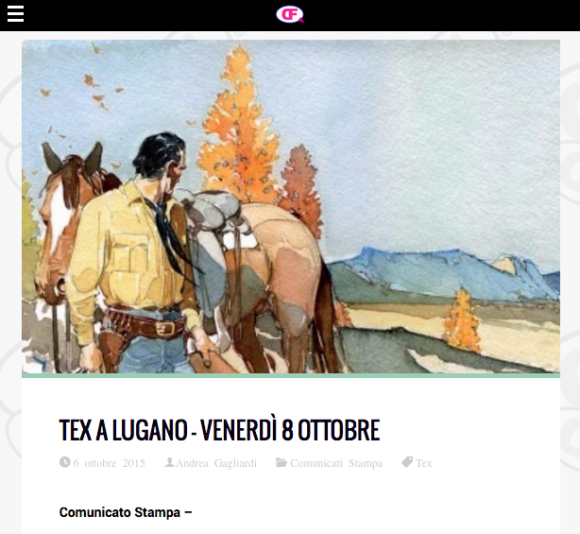 Dimensionefumetto.it, Tex Willer a Lugano – 6 ottobre 2015