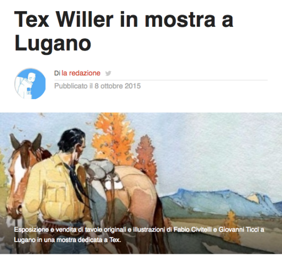Lospaziobianco.it, Tex Willer in mostra a Lugano