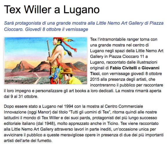 Ticino Newa, Tex Willer a Lugano – 1 Ottobre 2015
